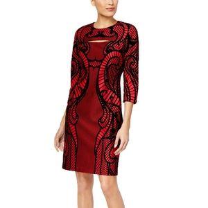 ECI Flocked Lace Velvet 3/4 Sleeve Sheath Dress